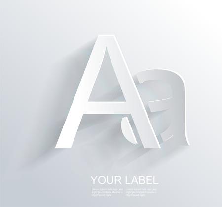 Letter A, white paper symbol icon  Vector