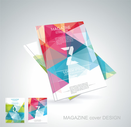 Magazine cover with pattern of geometric shapes, texture with flow of spectrum effect