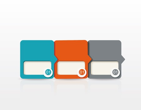 three layer: vector paper tags, labels, banners in the pockets, - one two three four steps