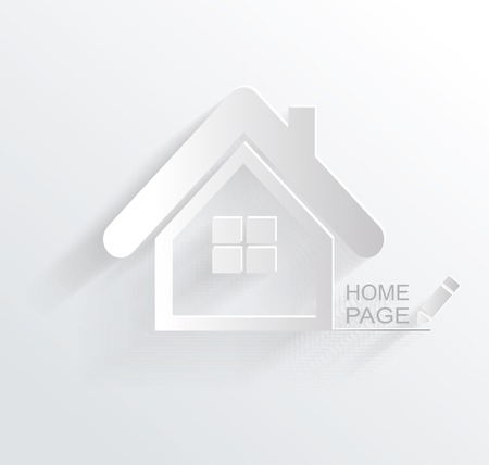 simple house: Vector symbol of house, white paper origami home icon