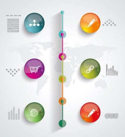 desk work: Timeline Infographic. Vector design template.