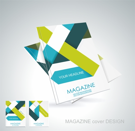advertising column: Magazine or brochure template design with cubes and arrows elements. Illustration