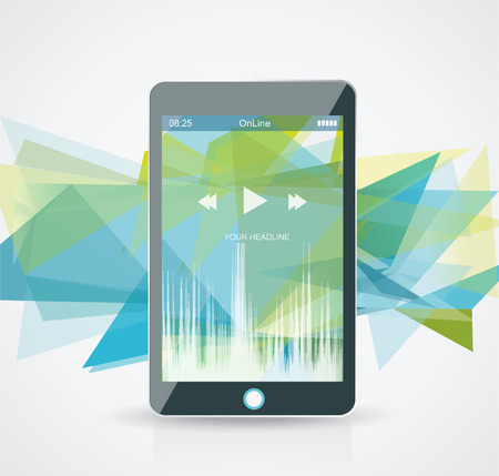 Perfectly detailed modern smart phone with geometric  background Vector