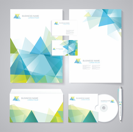 Corporate identity template with blue and green geometric elements. Documentation for business.