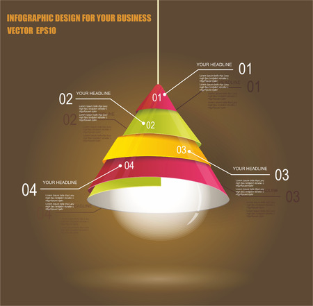 laboratory label: Iinfographic Template with Light bulb  Illustration