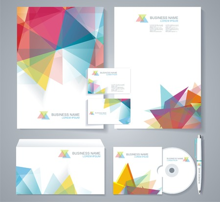 catalog: Corporate identity template with blue and green geometric elements. Documentation for business.