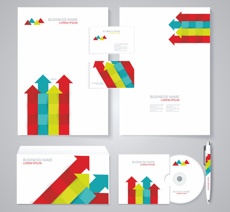 Corporate identity template with color srrows elements. Vector