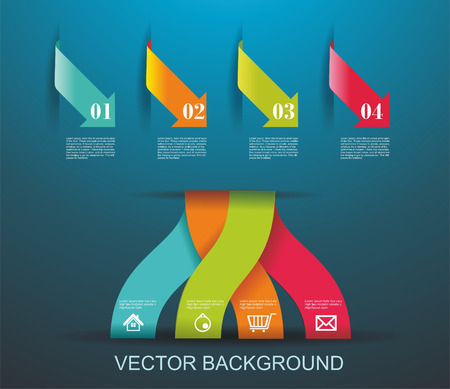Modern origami style number options banner. Can be used for diagram, step options, web design, infographics, workflow layout. Vector