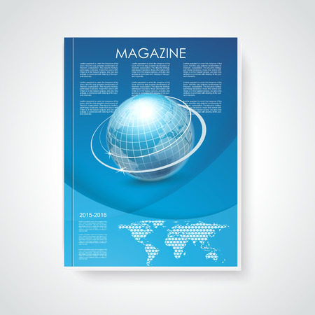 Magazine or brochure cover with world map and globe on abstract  blue background Vector