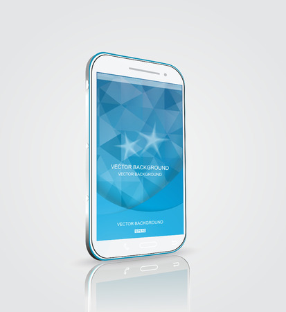 Smart phone, touch screen phone with blue background Vector
