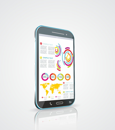 Infographics Desgin template with high tech smartphone Vector