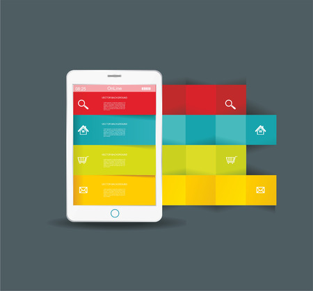 Touch screen smartphone with modern infographic with in the middle. Vector