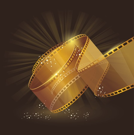 hollywood star: 3d gold film reel , vector label sign