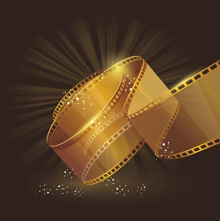 cinta de pelicula: Carrete de película de oro 3d, signo vector de la etiqueta