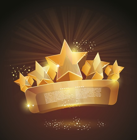 first prize: beautiful glass label sign with gold stars Illustration