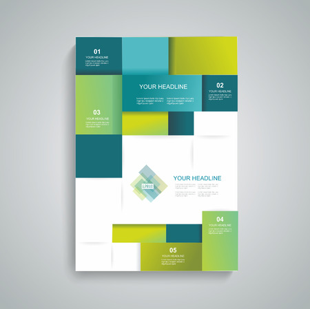 パンフレット テンプレート デザイン キューブと正方形の要素を持つベクターします。  イラスト・ベクター素材