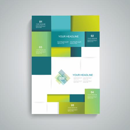 Vector brochure template design met blokjes en pleinen elementen. Stock Illustratie
