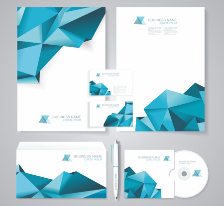 Corporate identity template with blue polygonal design elements. Documentation for business.