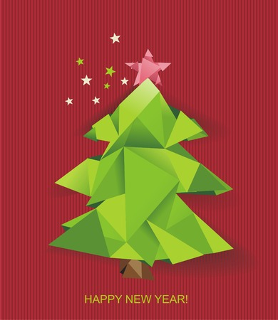 Christmas tree folded of green paper. Design element for holiday cards.Vector illustration. Vector