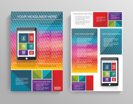 Vector brochure template design with Smart Phone and Media Application Icons. Vector