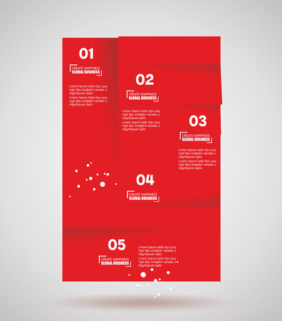 Infographic banner design elements, numbered lists, cut paper. Vector