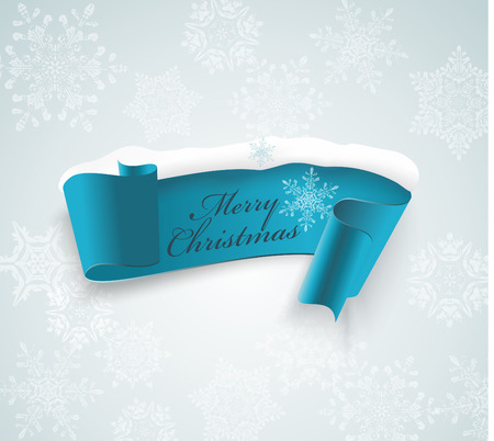 Winter banner, blue realistic ribbon and snow. Christmas background Vector
