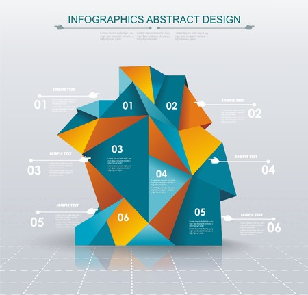 visualization: Business Infographics polygonal design style. Can be used for workflow layout,  diagram, number options, step up options, web design. Illustration