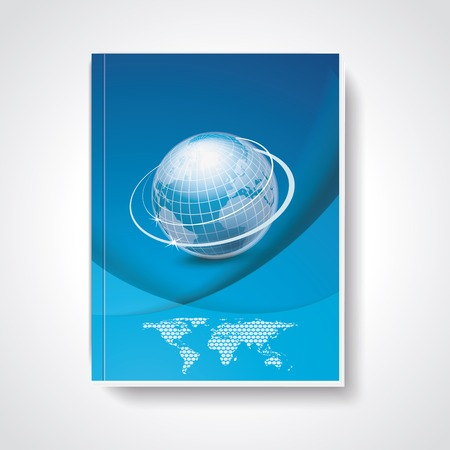 menu land: Magazine or brochure cover with world map and globe on abstract blue background