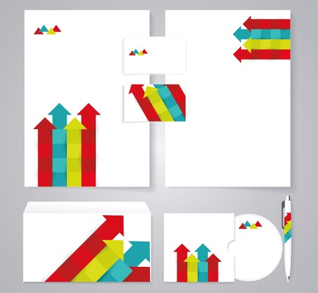 onwards: Corporate identity template with color arrows. Documentation for business.