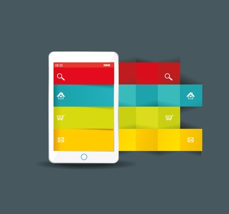 econimics: Touch screen smartphone with modern infographic with in the middle.