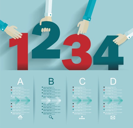 Number options template. Can be used for workflow layout, diagram, business step options. Vector