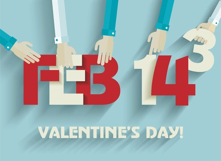 14 february: Happy Valentines day card design. 14 february.  Vector flat design.
