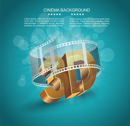 cinema strip: Illustration of 3D word in golden glass with cinema roll