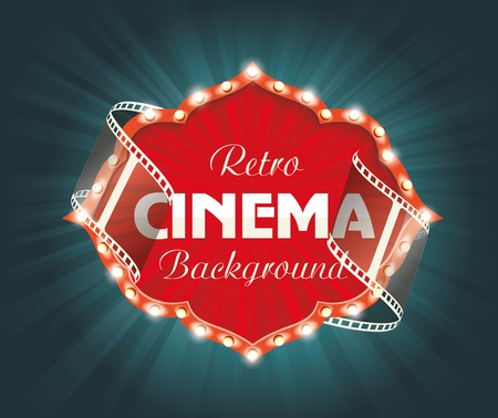 cinema film: Old Cinema banner with stripe roll. Vector cinema background.