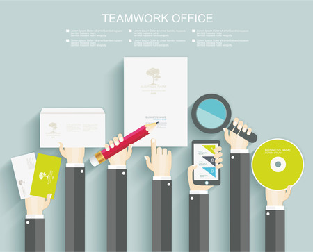 signing papers: Signing a contract. Business meeting. Office kit. Flat design.