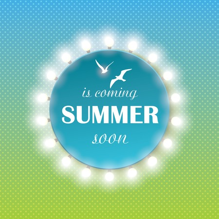 flair: Summer time background with text and light bulbs. Vector illustration of a glowing Summer time background. Illustration