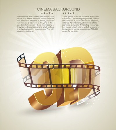 animated film: Illustration of 3D word in golden glass with cinema roll
