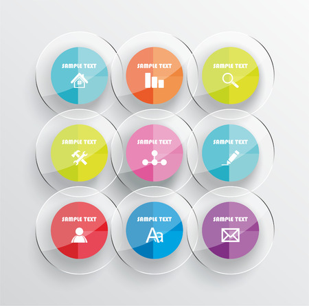 analisys: Modern infographic or webdesign symbols, mobile shopping communication and delivery service. Glass design.
