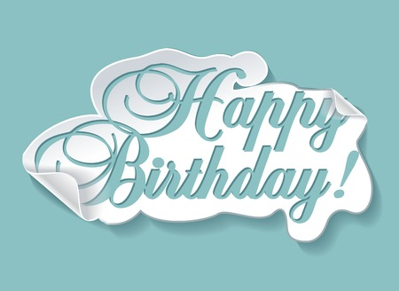 happy birthday text: illustration of birthday card Illustration