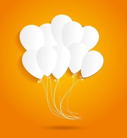 matrimonio feliz: Tarjeta de cumpleaños con globos de papel, ilustración vectorial