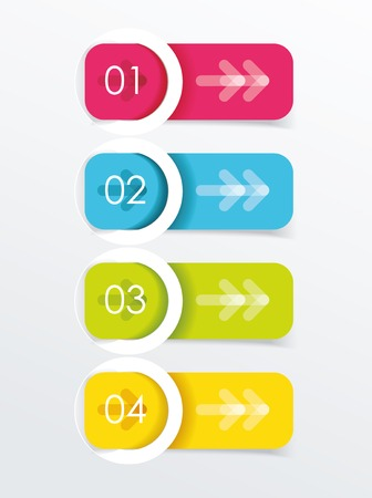 your text here: Colorful banners with white circles. Place your text here