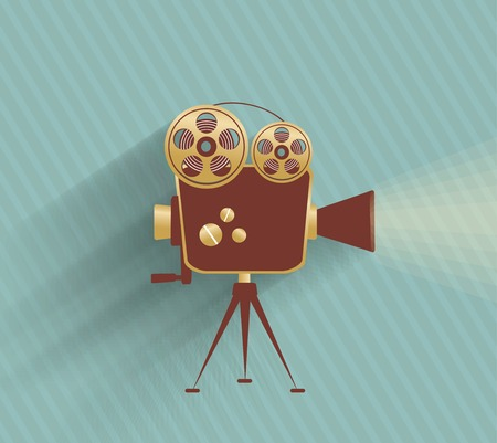 cinematograph: Grunge retro cinema poster. Vector illustration.
