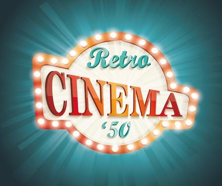 Old Cinema banner with light bulbs. Vector cinema background.