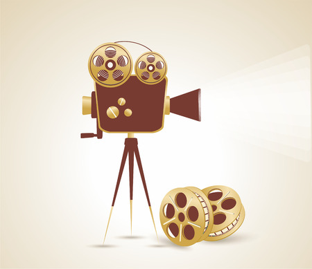 movie camera: Grunge retro cinema poster. Vector illustration.