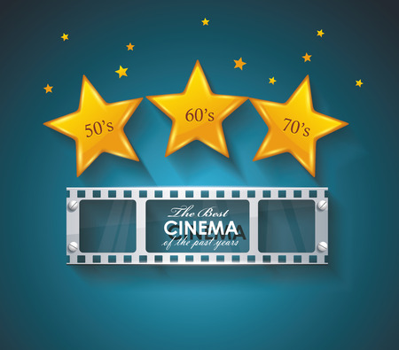 emulsion: Old Cinema banner with gold stars and film tape. Vector cinema background.