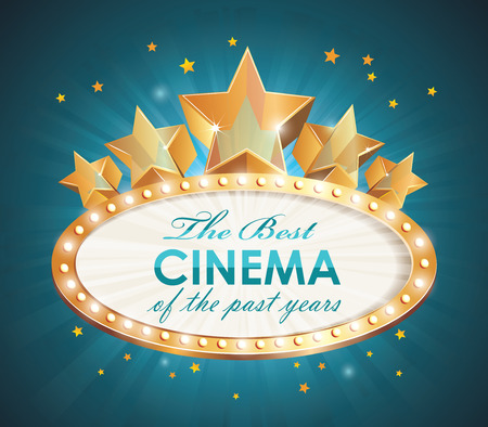 decoration lights: Old Cinema banner with light bulbs. Vector cinema background.