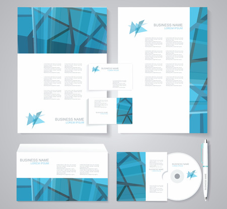 documentation: Corporate identity template with  geometric elements. Documentation for business.