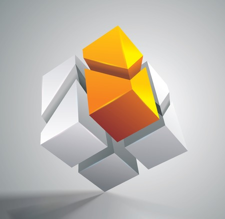 Vector illustration of 3d cut on parts