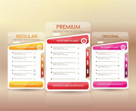 Prijslijst widget met 3 betaling plannen voor online diensten, prijstabel voor websites en applicaties. Stock Illustratie