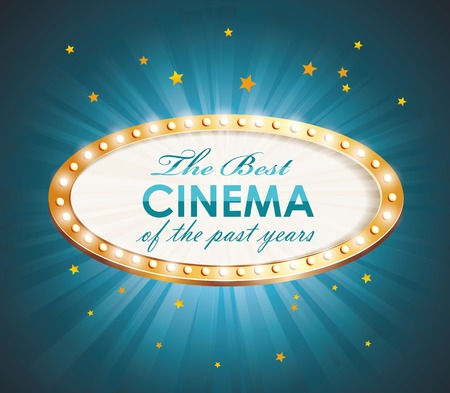 cinema film: Old Cinema banner with light bulbs. Vector cinema background.